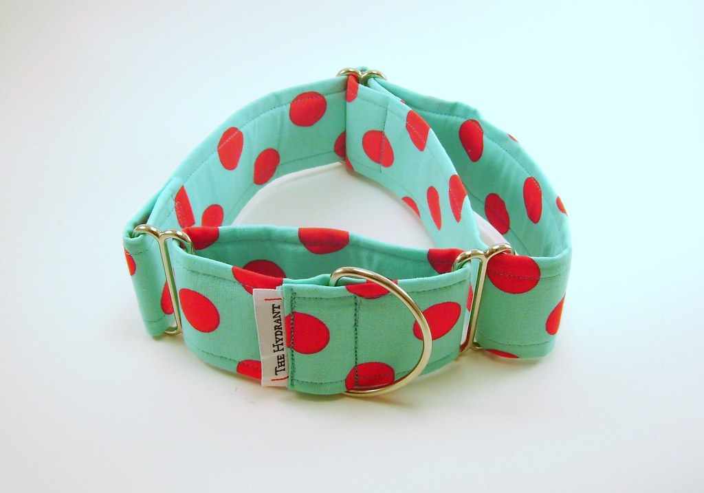 "2"" Martingale - Fabric: Red Dots on Bright Turqouise"