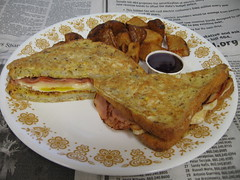 Ham, egg, and provolone stuffed French toast