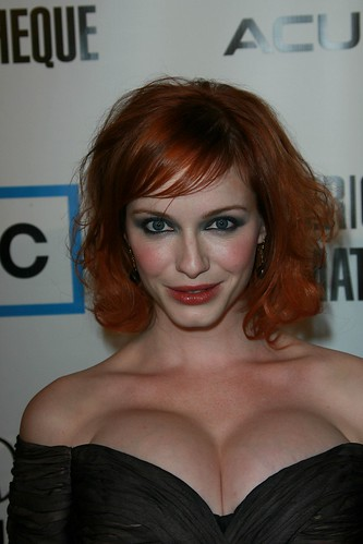 Christina Hendricks exposes cleavage