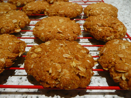ANZAC biscuits on the cooling rack