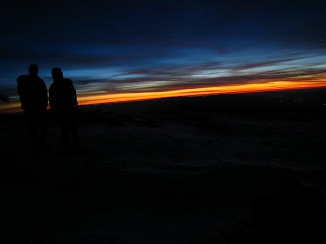 Sunrise after a night ascent of Mulhacen