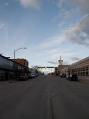 Downtown Rawlins at dusk. (Draplin) Tags: nebraska wyoming i80 ddc greatplains headingwest westernunitedstates draplin draplindesignco ddcarchives placesfarfromhome grainelevatortowns