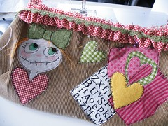 """Her Lovliness from Elmstreet"" - front (monaw2008) Tags: girl bag heart handmade fabric purse recycling applique handbag reused buket monaw monaw2008 curderoy bukiby"