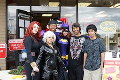 Some of our Yu-Gi-Oh players hanging out with the Costumed Crusaders (Lone Star Comics Dallas) Tags: storm comics batgirl blackwidow superheroes freecomicbookday harleyquinn comicshop zatanna fcbd lonestarcomics