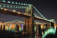 Brooklyn Bridge at Night, New York City (andrew c mace) Tags: city nyc longexposure newyork brooklyn night manhattan dumbo tokina1224 southstreetseaport brooklynbridge manhattanbridge eastriver williamsburgbridge newyorkatnight nikoncapturenx nikond90