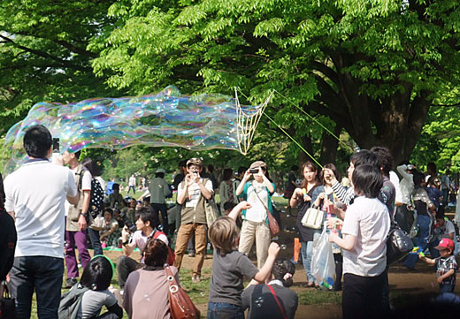 bubbles floating on Yoyogi-park
