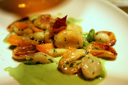 Crispy Potato Gnocchi, english pea & tallegio fonduta, early spring vegetables, prosciutto crisp