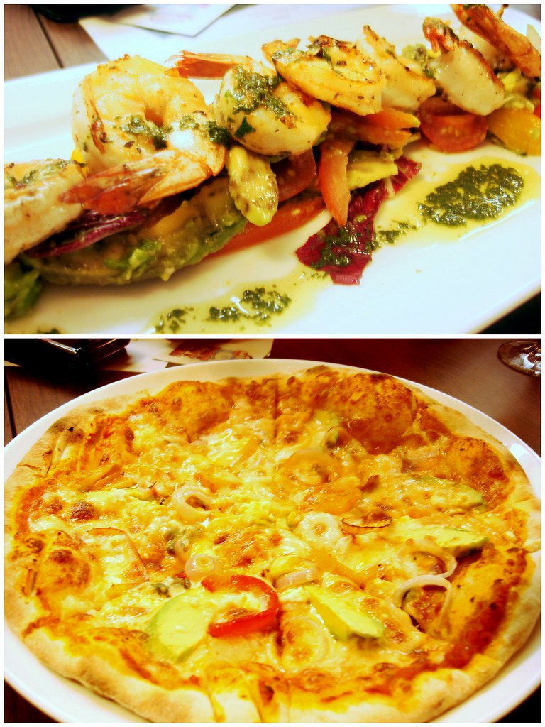Silver spoon - pizza, prawn stack