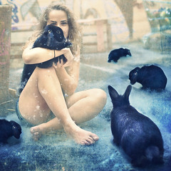 Take Care  (NorwayNatasha) Tags: portrait cute bunnies me girl norway backyard yo surreal cuddle 365 rabbits textured selfie norwaynatasha 52sundayselfies