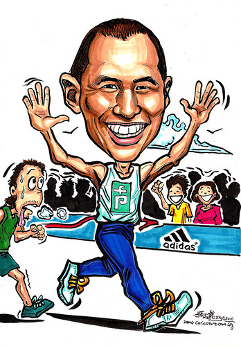 Caricature for Pepper Lunch Marathon runner