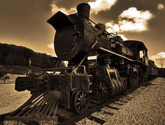 All Aboard! (Jason Haley) Tags: railroad monochrome sepia train canon angle wide loco super locomotive tamron xsi 450d 1024mm