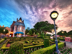 Beautiful Disney World at Sunset (Stuck in Customs) Tags: world park travel family sunset vacation usa france clock clouds digital america shopping garden french photography amusement blog high orlando epcot community downtown experimental dynamic stuck florida united north may security disney resort entertainment disneyworld prototype processing dining imaging states orangecounty tomorrow range hdr themepark tutorial trey travelblog customs 2010 worldshowcase altercation ratcliff hdrtutorial stuckincustoms treyratcliff stuckincustomscom nikond3x downtowndisneydistrict francland
