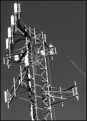 Vapor Trail -- Cell Tower (greenthumb_38) Tags: railroad blackandwhite bw train blackwhite duotone locomotive tehachapi canon40d mojavesub jeffreybass tehachapidaytrip5292010