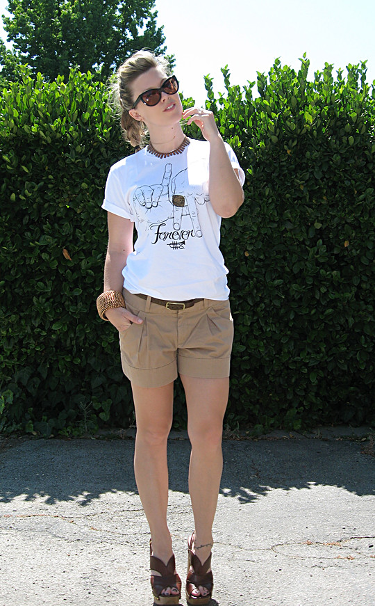 LA Forever T-shirt+Shorts+Denim Shirt+Miu Miu clog sandals+LV -4