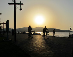 Shadows: halo (Jo Dooher) Tags: sunset sun bicycle silhouette canon turkey landscape shadows cycle fethiye g11