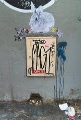07/06/10 - ce matin, un lapin (le regard ailleurs) Tags: street city streetart paris rabbit bunny collage graffiti tag marker rue papier ville lapin menilmontant mag1