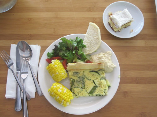 Asparagus and zucchini quiche, salad, hummus, bread, corn, sponge cake from the bistro - $6