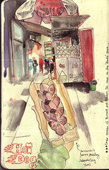 Hot Doggonit...! (ShutterJH) Tags: life street canada moleskine vancouver ink umbrella hotdog downtown drawing britishcolumbia famous sketchbook wash watercolour robson burrard stands specialty