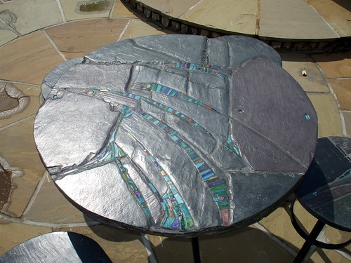 Fish nor Fowl 90 cm dia table Outside Art