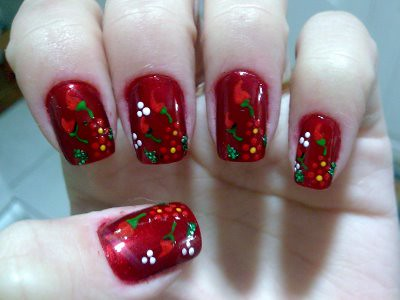 unhas decoradas com flores fotos