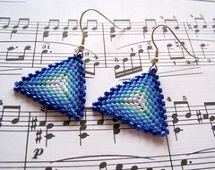 blue striped peyote triangle earrings (randomcreative) Tags: blue jewelry earrings etsy striped beadweaving beadwoven offloom randomcreative peyotetriangles sterlingsilverearringwire