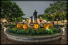 Partners and Pumpkins [Explore] (Silver1SWA (Ryan Pastorino)) Tags: california statue night canon mouse mainstreet disneyland sigma disney mickey anaheim walt hdr partners sigma1020 40d