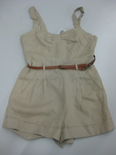 linen romper with belt, P409