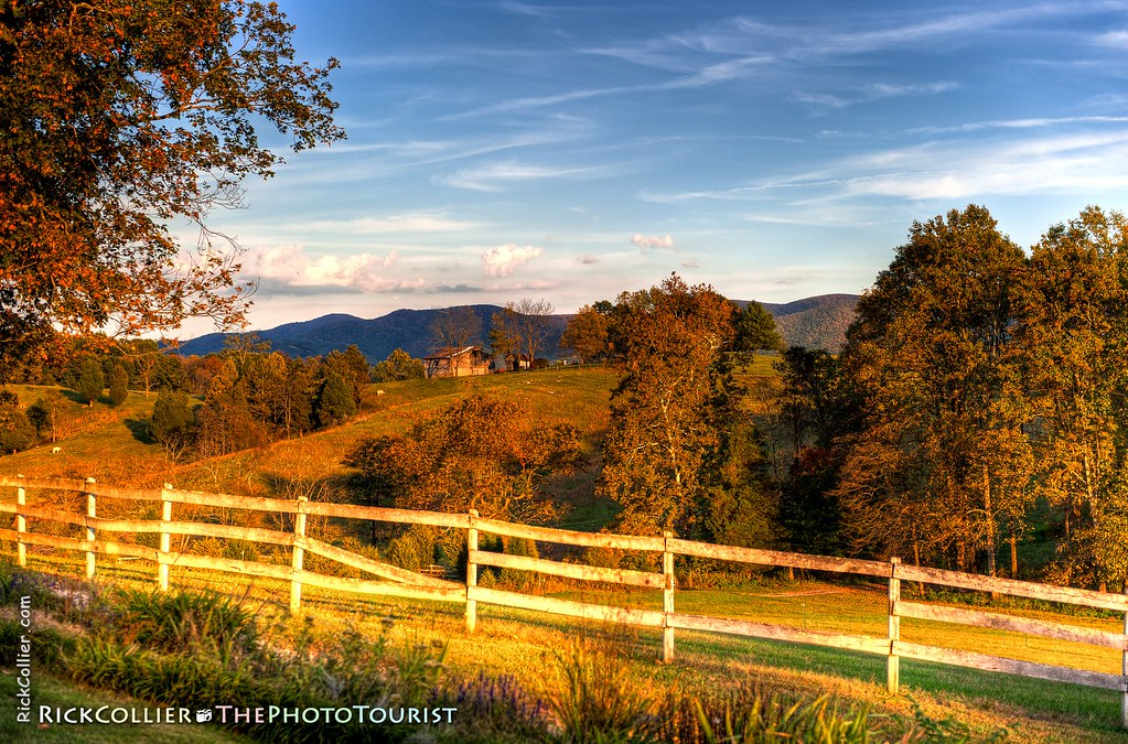 HDR image of fence and fields at sunset, in Fincastle VA