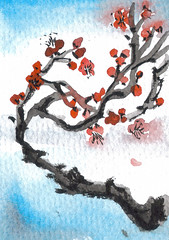 Plum Blossom Twist (plasticpumpkin) Tags: flowers trees sky floral atc painting aceo plumblossoms chineseart branchs