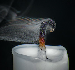 Smoke Droplets With Refraction (Sea Moon) Tags: drops candle smoke curls wax rainbows particles wick wisps smoldering snuffed