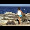 WATCH YOUR BACK (Elena Fedeli) Tags: sea summer italy beach rocks italia mare horizon boa rocce puglia necropolis gesso orizzonte bambino apulia necropoli ragazzino savelletri ingessatura