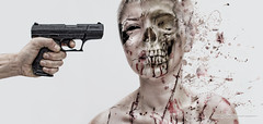 Happy Halloween; Remember Too Shoot Them In The Head (Danielle_T) Tags: portrait man colour art halloween girl strange face digital dark skull weird insane intense scary eyes gun emotion head zombie digitalart dream surreal freaky creepy psycho angry scarey horror nightmare unusual mad splatter nasty scull danielletunstall