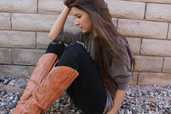 i can't explain what you can't explain. (ahhhlicia) Tags: selfportrait girl wall rocks longhair cowgirl cowboyboots supersexy rippedpants sooc