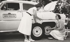 Driver Education - How to Change a Flat Tire (c.1950's) (Custom_Cab) Tags: ladies two bw chevrolet car wheel photo education women flat picture tire cap ten change driver spare hubcap 1953 210 1950shub how twoten control daul 1950s factory public publicity school training learning learn aaa