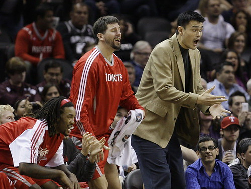 November 6th, 2010 - Jordan Hill, Brad Miller and Yao Ming react during a very intense 4th quarter against the Spurs