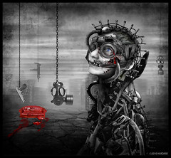 what have we done to mankind? (H.Adam) Tags: life selfportrait collage dark blood war digitalart machine manipulation photomontage murder darkart hrgiger homocide