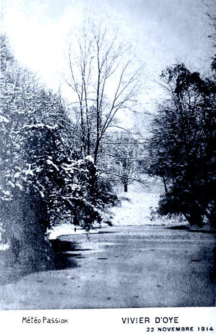 neige et étang gelé à Uccle le 22 novembre 1914