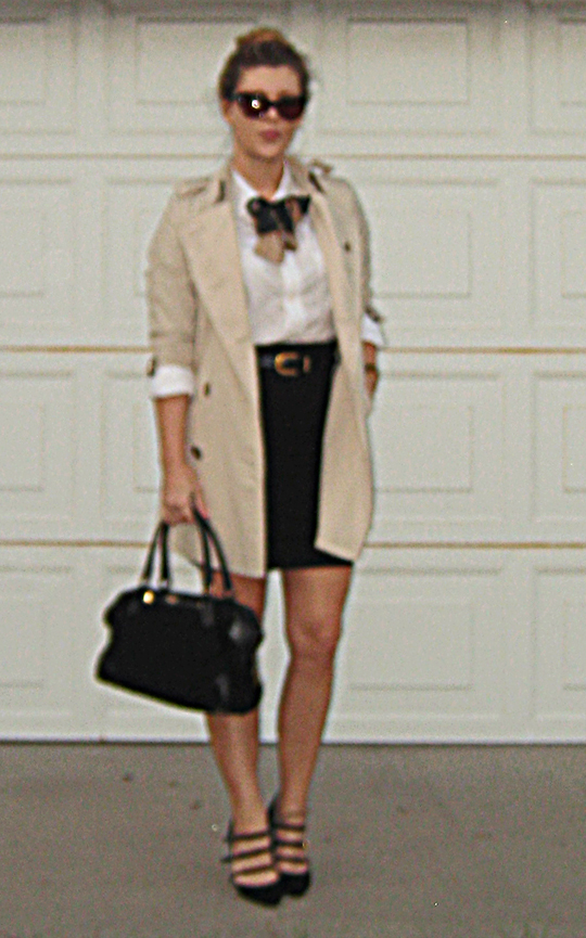 burberry trench+pencil skirt+white button down