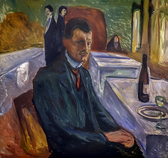 'Self Portrait with a Bottle of Wine, 1906' by Edvard Munch (Greatest Paka Photography) Tags: edvardmunch artist art portrait selfportrait painting expressionism symbolism sfmoma museum museumofmodernart norwegian troubled mortality crisis