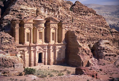 The Monastery Petra (robertdownie) Tags: sky landscape city nature travel rock old tourism architecture temple film building monument stone sculpture mountain facade ancient desert outdoors jordan landmark column sandstone antique grave petra ruin archaeology carved seven wonders ad deir no person the monastery nabatean raqmu