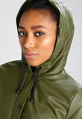 Borg - green raincoat hood (ShinyNylonFan) Tags: borg raincoat hood