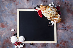 Croissant with meringue on chalkboard (lyule4ik) Tags: croissant breakfast bakery bread meringue berries background bun closeup pastry table continental food fresh macro meal morning roll butter french spice bake brown buttered buttery cafe color crust cuisine delicious dessert dough ear eat fat freshness gold golden grey object snack spike spikelets sweet tasty traditionally yummy juice