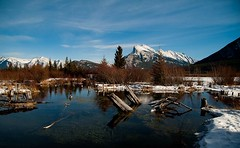 Mt Rundle (Kirsten Costoulas) Tags: winter mountain lake canada color water banff vermillion rundle