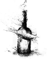 bottle of water (grohsARTig // martin-grohs.com) Tags: bw food art classic water photoshop manipulated painting creativity design bottle interesting wasser flickr experimental graphic emotion drink drawing creative surreal manipulation grafik sw stillife trinken flasche dreamcatcher zeichnung kreativitt grohsartg grohsartig