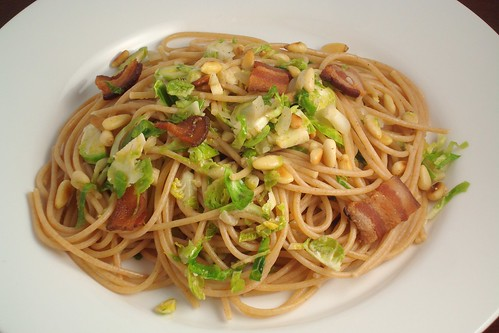 Pasta with Shaved Brussels Sprouts and Bacon