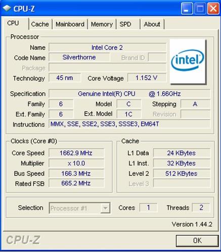 Intel D410PT CPU-Z