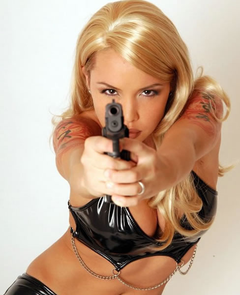 stripper with gun