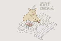 party animal (Iain Burke) Tags: party animal cake illustration bench sketch candle drawing bears hats sketchbook cupcake iain grizzly 2009 burke partyanimal shockvalue iainburke bearsinhats octopocalypse iainvandoucheberg vandoucheberg