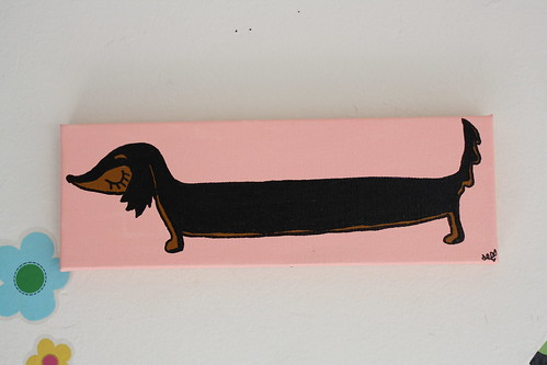 Long hair doxie painting!