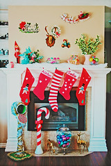 Home For the Holidays (boopsie.daisy) Tags: santa christmas decorations red white house snow color green bird home colors stockings japan mailbox vintage pose hearts reindeer living rainbow snowman fireplace colorful doll candy interior stripes space room gingerbread kitsch holly deer antlers wreath cameras bow snowmen bulbs merry candycane decor mantle